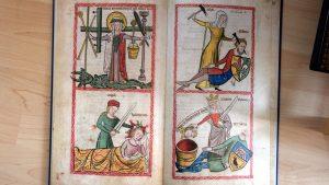 """Ich mag Judit (unten links) und Jaël (oben rechts), die anderen beiden musste ich googeln. Das Bild oben links: finde ich unter dem Stichwort """"Geisselsäule""""  (hier: http://www.rdklabor.de/wiki/Gei%C3%9Fels%C3%A4ule), unten rechts ist offenbar Tomris dargestellt, eine Kriegerkönigin, die den Persischen König Cyrus besiegt hat."""